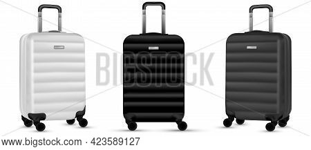 Baggage Isolated. Set Of Silver Travel Plastic Suitcase Or Vacation Bag On White Background. Summer