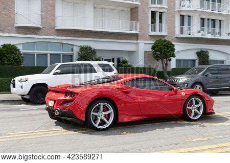 Palm Beach, Florida Usa - March 21, 2021: Red Ferrari Sf90 Stradale
