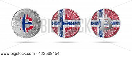 Three Bitcoin Crypto Coins With The Flag Of Norway. Money Of The Future. Modern Cryptocurrency Vecto