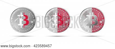 Three Bitcoin Crypto Coins With The Flag Of Malta. Money Of The Future. Modern Cryptocurrency Vector