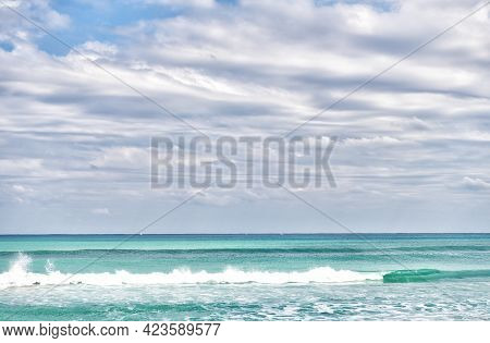 Happiness Comes In Waves. Sea Water Waves In Palm Beach Florida, Usa. Sea Under Cloudy Sky
