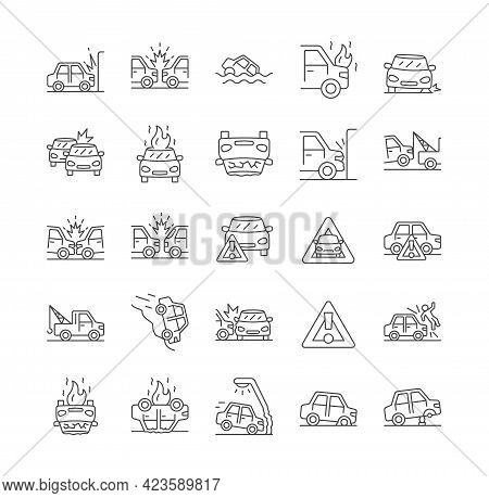 Car Accident Line Icons. Car Fire, Side Collision, Evacuation, Frontal Collision, Broken Car, Damage
