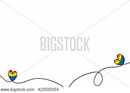 Flag Lgbt Icon, Decorative Frame, Hand Drow Border With Hearts. Template Design, Vector Illustration