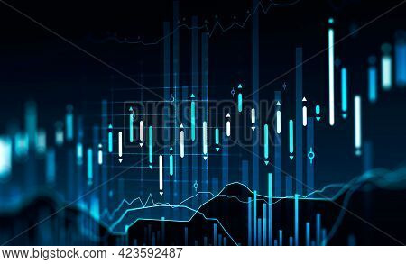 Immersive Hud Interface Blurry And Focused Stock Market Analytics Graphs. Investment, Financial Mana