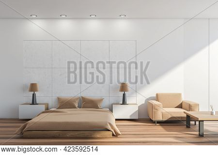 Light Bedroom Interior With Beige Bed And Pillows, Parquet Floor And Tables With Lamps. Mockup Copy