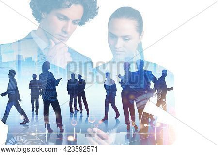 Double Exposure Of Businessman And Businesswoman Who Are Looking For New Talented Candidates For Acc