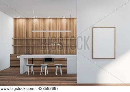 Modern Kitchen Set Interior With White Cutting Table And Three Bar Chairs On Parquet. Kitchenware Wi
