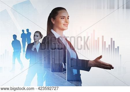 Office Woman Smiling Offer Hand To Shake, People Working And Office Buildings, Double Exposure, With