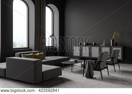 Modern Living Room Interior With Two Grey Armchairs And Couch, Side View, Lamp And Shelf With Decora