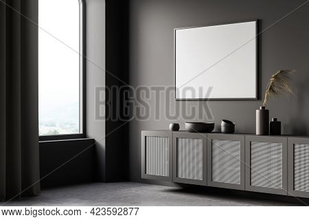 Grey Art Room Interior With Wooden Commode With Decoration, Side View, Window With Countryside, Conc