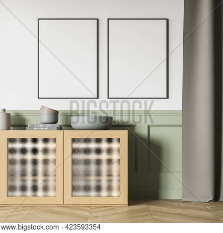 Green And White Art Room Interior With Wooden Commode With Books And Vase On Parquet Floor. Two Blan