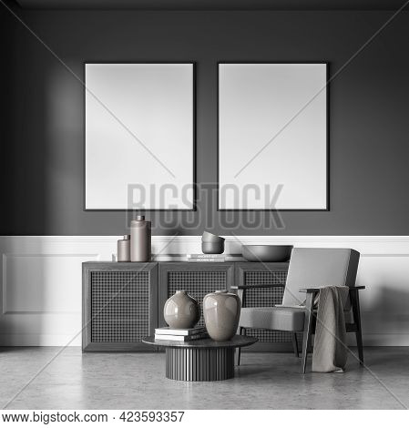 Grey Art Room Interior With Grey Armchair And Coffee Table, Black Wooden Commode With Books And Vase