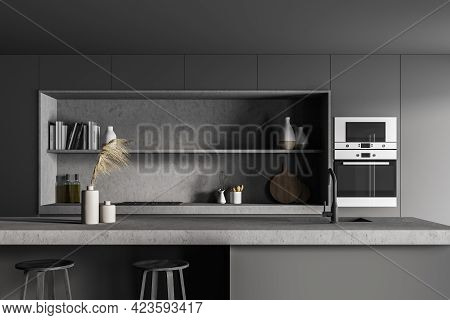 Black Kitchen Room With Grey Table And Bar Chairs, Front View. Cooking Set Interior With Shelves And