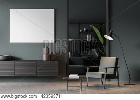 Blue Art Room Interior With Black Wooden Commode With Books And Vase, Armchair And Lamp, Coffee Tabl