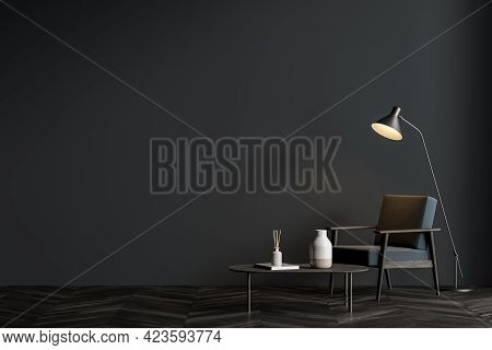 Interior Of Modern Living Room With Grey Walls, Dark Wooden Floor, Gray Armchair And Blank Mock Up W