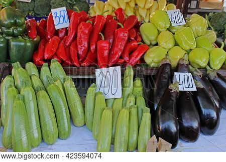 Fresh Raw Organic Healthy Vegetables Sold On Market Stall