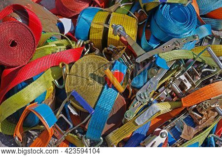 Large Pile Of Safety Colorful Transportation Equipment Sold On Second Hand Market