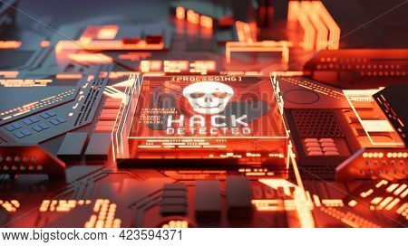 Systems Being Hacked And Network Ransomware Digital Cyber Crime Background Concept. 3d Illustration.