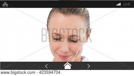 Composition of female doctor smiling on digital image interface screen. medical and healthcare services communication digital interface concept digitally generated image.