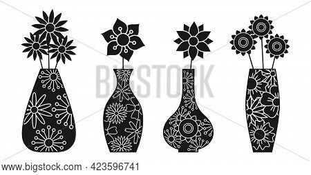 Vases And Flowers Unusual Black Silhouette Set With White Lines Inside. Peonies, Chamomiles, Asters,