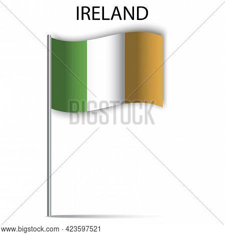 Ireland Flag Stick. Icon With Ireland Flag Stick On White Background. Vector Illustration. Stock Ima