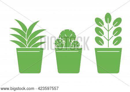 Cartoon Green Flowerpots Green Pots. Interior Design. Home Icon. Floral Background. Vector Illustrat
