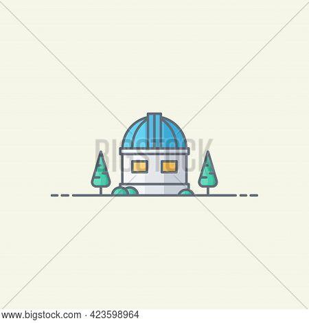 Observatory Building Vector Icon Illustration. Observatory Flat Design