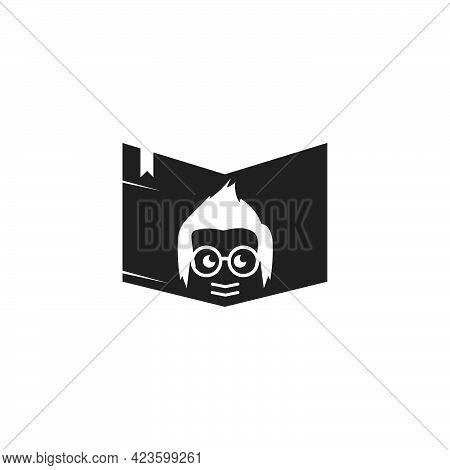 Book With Geek Boy  Icon Vector Illustration Design