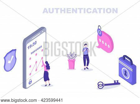 Authentication Security Vector Illustration Via Phone Or Computer For Code Message Shield And Passwo