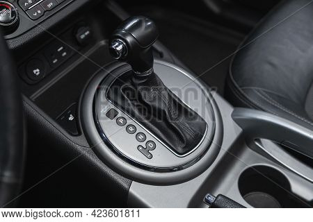 Novosibirsk, Russia - June 08, 2021: Kia Sportage, Close Up Of The Manual Gearbox Transmission Handl
