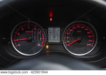 Novosibirsk, Russia - June 08, 2021: Subaru Forester, Sign And Symbol On Car Dashboard. Car Speedome