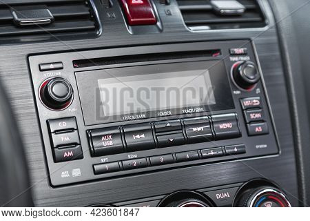 Novosibirsk, Russia - June 08, 2021: Subaru Forester, A Close Up On A Black Panel With Radio,  Playe