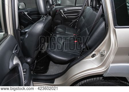 Novosibirsk, Russia - June 08, 2021: Toyota Rav-4, Comfort Car Inside. Clean Car Interior: Black Bac