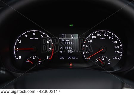 Novosibirsk, Russia - June 08, 2021: Hyundai Solaris, Sign And Symbol On Car Dashboard. Car Speedome