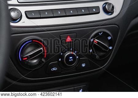 Novosibirsk, Russia - June 08, 2021: Hyundai Solaris, Close Up Of  Car Panel With The Air Conditioni