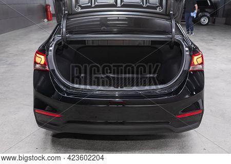 Novosibirsk, Russia - June 08, 2021: Hyundai Solaris, Big Trunk Open In A Sedan Car.