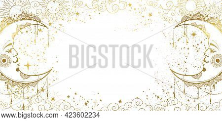White Mystical Background With Golden Crescent Moon With Face, Cosmic Pattern With Copy Space For Te