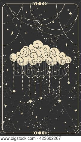 Tarot Card With Ornate Cloud. Magic Card, Boho Style Design, Witch Card, Prediction, Mystical Hand S