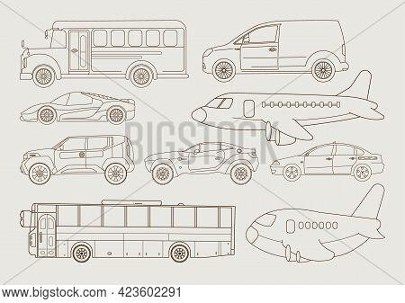 Transportation Line Art Set, Transport Collection, Vector Graphics, Logo Illustrations, Vehicles Vec