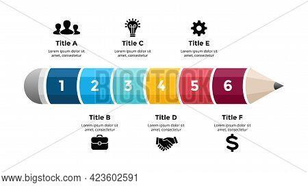 Pencil Infographic. Educational 3d Concept. Six Options Diagram. Vector Slide Template. Creative Col