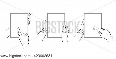 Hands Holding Tablet With Touchscreen Gestures. Set Of Vertical Tablets In Hands Of A Human. Sketch