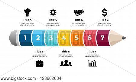 Pencil Infographic. Educational 3d Concept. Seven Options Diagram. Vector Slide Template. Creative C