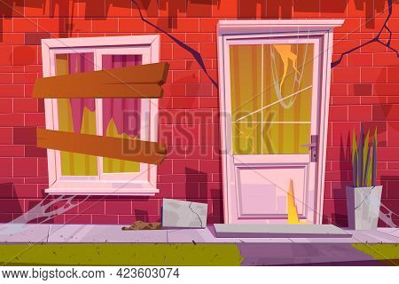 Abandoned House Facade Front View, Old Building Exterior With Cracked Red Brick Walls, Window Boarde