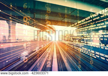 Digital Data Flow On Road With Motion Blur To Create Vision Of Fast Speed Transfer . Concept Of Futu
