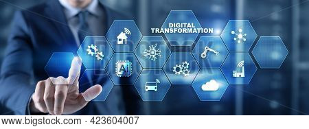 Digital Transformation And Digitalization Technology Concept On Abstract Background