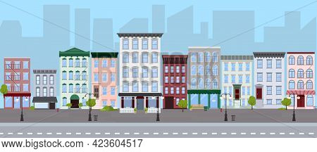 Flat Vector Illustration Of Summer City Street With Walk-up Residential Apartment Buildings, Houses,