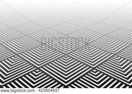 Tiled textured surface. Abstract geometric background. Diminishing perspective view.