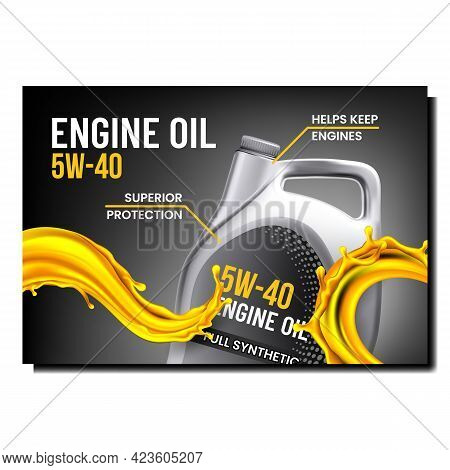 Engine Oil Creative Promotional Banner Vector. Engine Oil Blank Package And Splash On Advertising Po