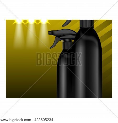 Glass Cleaner Creative Promotional Banner Vector. Glass Cleaner Blank Bottles Spray For Cleaning Win