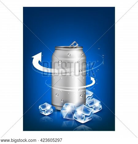 Sports Energy Drink Promotional Poster Vector. Energy Drink Blank Metallic Packaging And Ice Cubes O